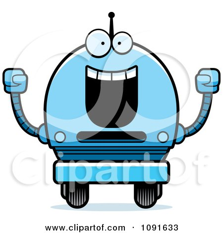 Clipart Cheering Blue Robot Boy - Royalty Free Vector Illustration by Cory Thoman