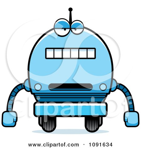 Clipart Bored Blue Robot Boy - Royalty Free Vector Illustration by Cory Thoman