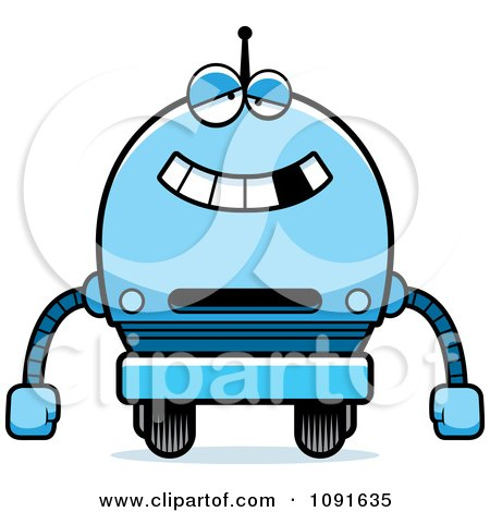 Clipart Dumb Blue Robot Boy - Royalty Free Vector Illustration by Cory Thoman
