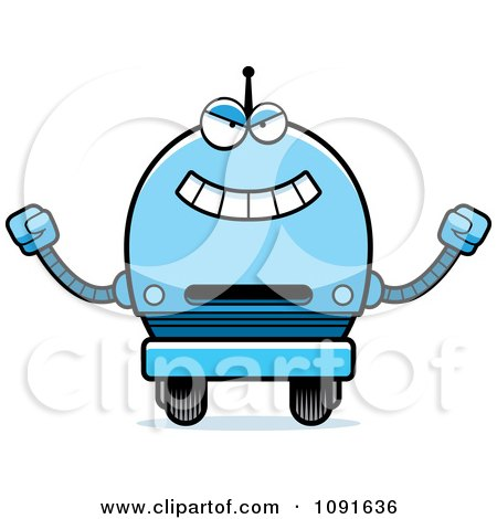 Clipart Evil Blue Robot Boy - Royalty Free Vector Illustration by Cory Thoman