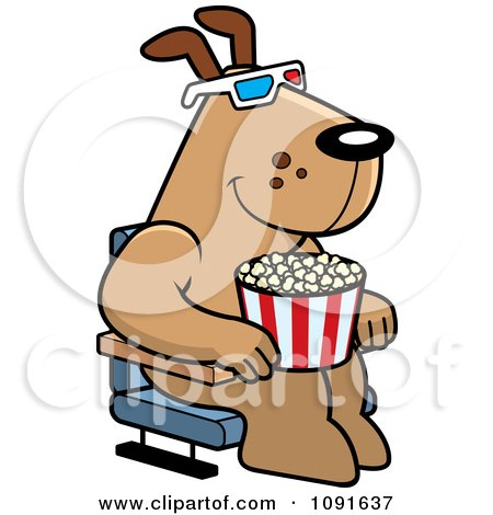 Clipart Dog Eating Popcorn And Watching A 3d Movie At The Theater - Royalty Free Vector Illustration by Cory Thoman
