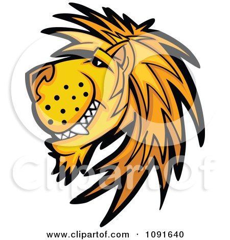 Clipart Male Lion Mascot Grinning In Profile - Royalty Free Vector Illustration by Chromaco