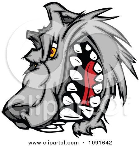 Snarling Wolf Mascot Head Posters, Art Prints