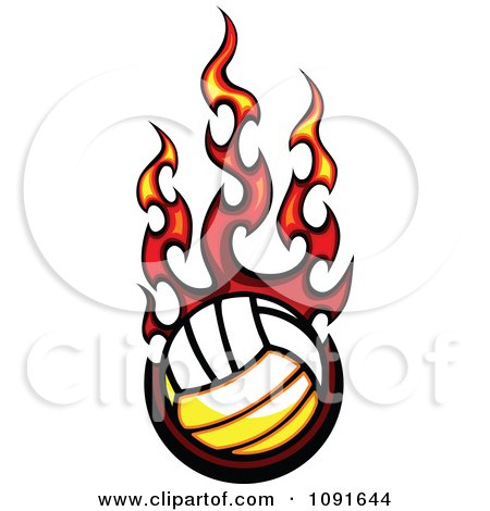 Clipart Hot Volleyball And Red Flames - Royalty Free Vector Illustration by Chromaco