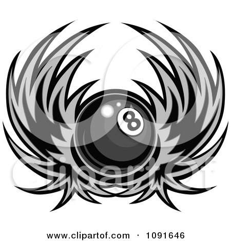 Clipart Grayscale Winged Billiards Pool Eight Ball - Royalty Free Vector Illustration by Chromaco