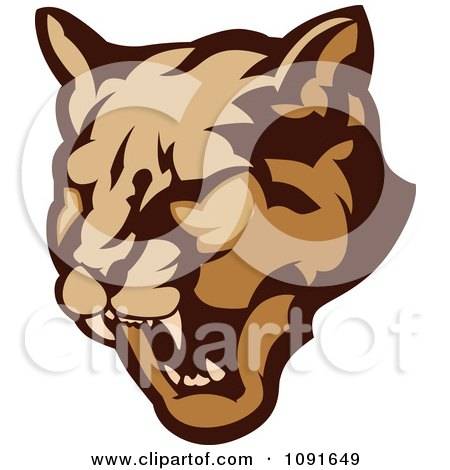 Clipart Growling Cougar Mascot Head - Royalty Free Vector Illustration by Chromaco