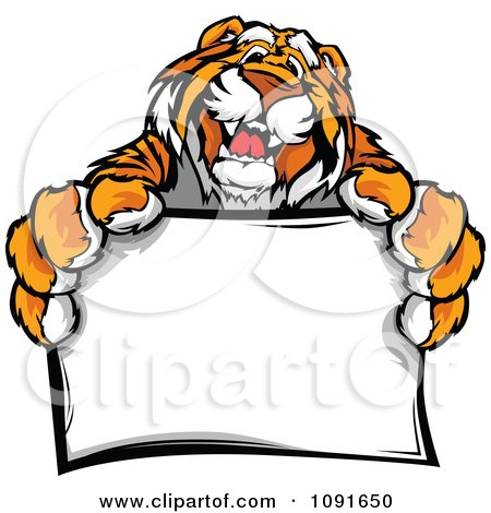 Clipart Friendly Tiger Mascot Holding A Sign - Royalty Free Vector Illustration by Chromaco