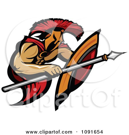 Clipart Spearing Spartan Warrior - Royalty Free Vector Illustration by Chromaco