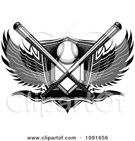 Clipart Black And White Baseball Plate Crossed Bats Shield Banner And Wings - Royalty Free Vector Illustration by Chromaco