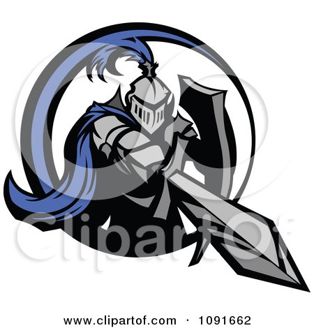 Clipart Blue And Gray Knight Stabbing With A Sword - Royalty Free Vector Illustration by Chromaco