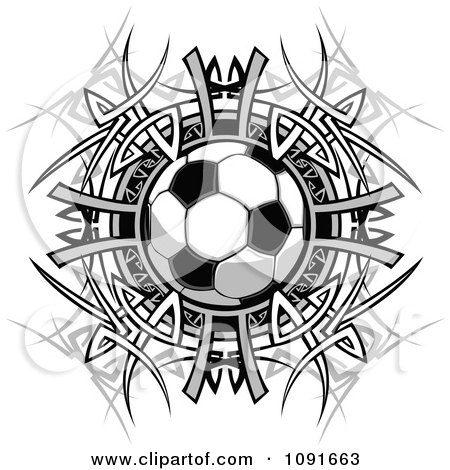 Clipart Soccer Ball Over A Tribal Circle - Royalty Free Vector Illustration by Chromaco