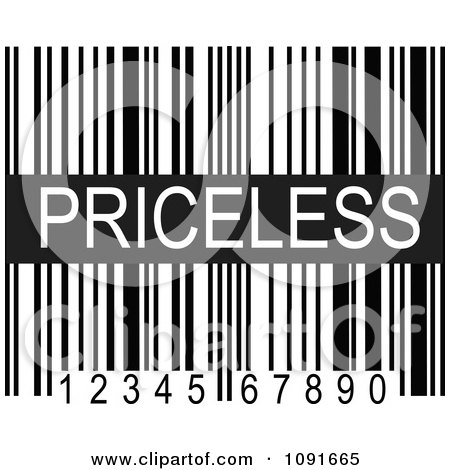 Clipart Black And White Pricesless Upc Bar Code - Royalty Free Vector Illustration by Maria Bell