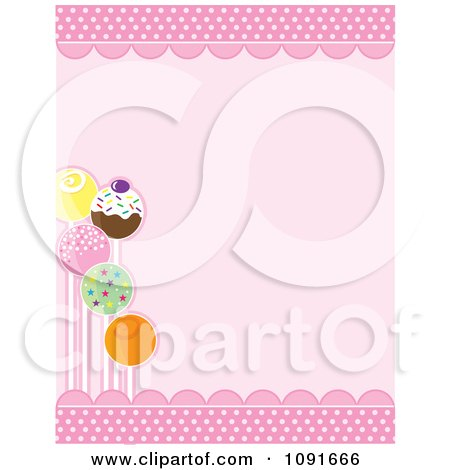 Clipart Decorated Cake Pops And Pink Scallops With Copyspace - Royalty Free Vector Illustration by Maria Bell