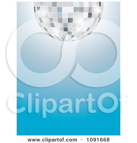 Clipart Half Silver Disco Ball Over A Gradient Blue Background - Royalty Free Vector Illustration by Maria Bell