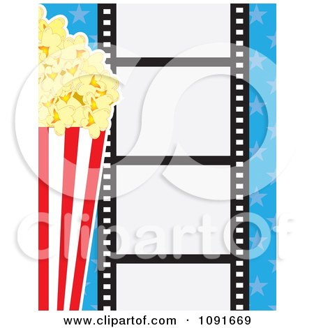 Clipart Movie Film Strip With Buttered Popcorn And Blue Stars - Royalty Free Vector Illustration by Maria Bell