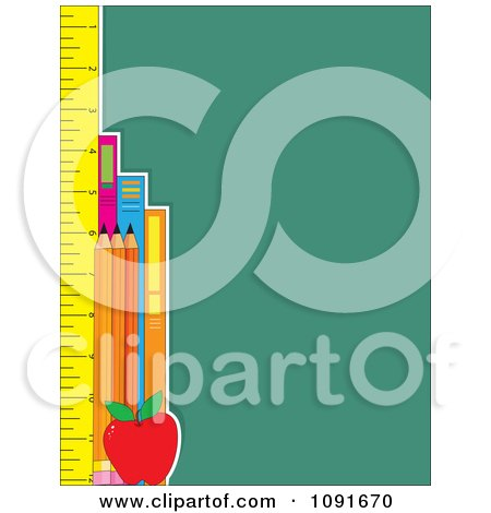 Clipart School Ruler Books And Pencils And Green With Copyspace - Royalty Free Vector Illustration by Maria Bell