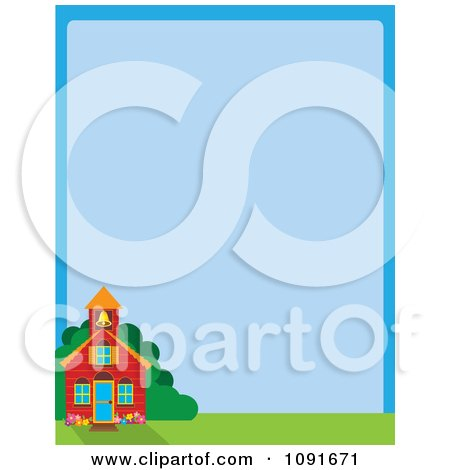Clipart School House And Blue Background With Copyspace - Royalty Free Vector Illustration by Maria Bell