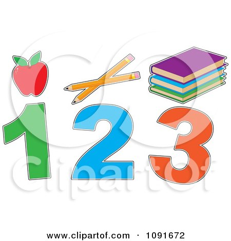 Clipart Red Apple Pencils Books And 1 2 3 - Royalty Free Vector Illustration by Maria Bell