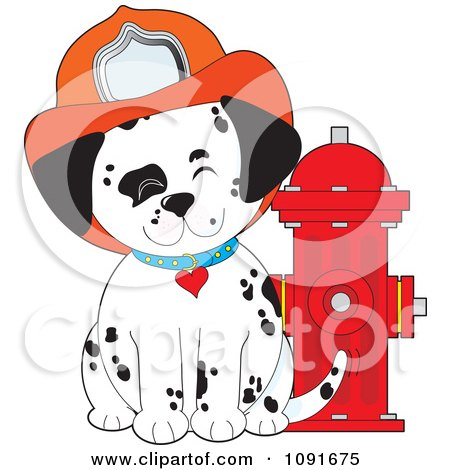 Clipart Happy Fire Department Dalmatian Puppy By A Hydrant - Royalty Free Vector Illustration by Maria Bell