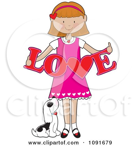 Clipart Puppy Looking Up At A Valentine Girl Holding A Cutout Of Love - Royalty Free Vector Illustration by Maria Bell
