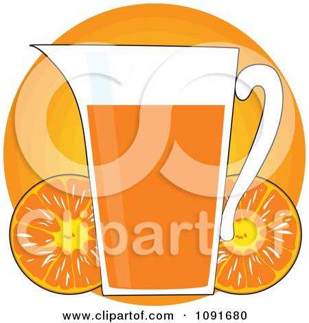 Clipart Pitcher Of Orange Juice With Fruits Over A Circle - Royalty Free Vector Illustration by Maria Bell