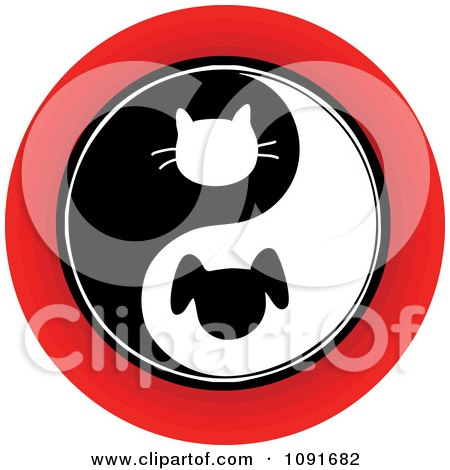 Clipart Red Black And White Cat And Dog Yin Yang Circle - Royalty Free Vector Illustration by Maria Bell