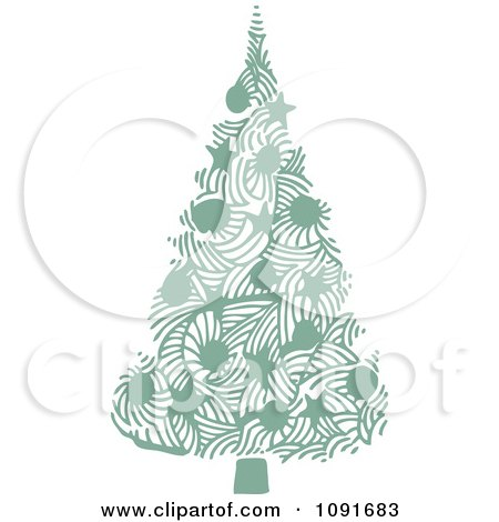 Clipart Green Christmas Tree With Stars And Baubles - Royalty Free Vector Illustration by Steve Klinkel