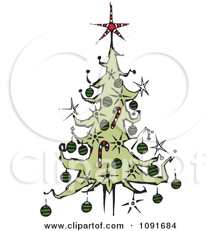 Clipart Christmas Tree With A Red Star Topper Royalty Free Vector