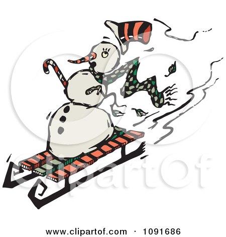 Clipart Snowman Sledding Down A Hill - Royalty Free Vector Illustration by Steve Klinkel