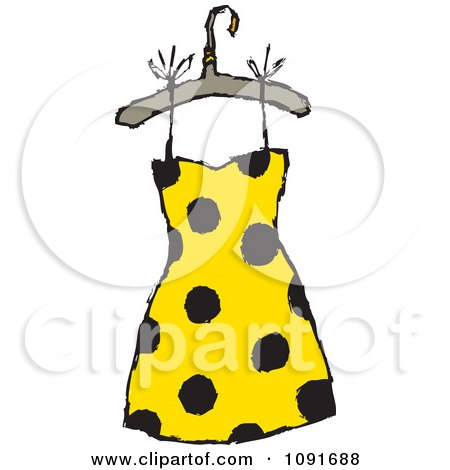 Clipart Picture of a Happy Lady In A Patterned Dress, Hat ...