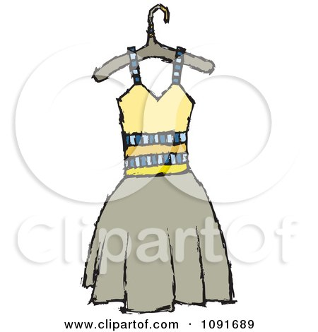 Clipart Yellow And Tan Dress On A Hanger - Royalty Free Vector Illustration by Steve Klinkel
