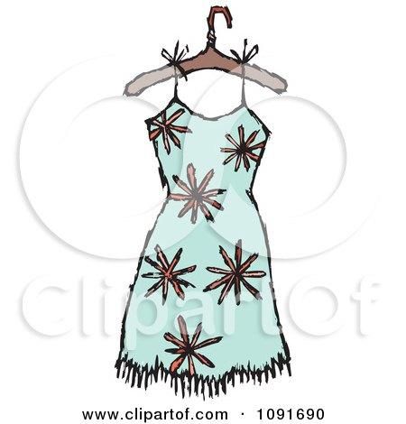 Clipart Orange Flower And Turquoise Dress On A Hanger - Royalty Free Vector Illustration by Steve Klinkel
