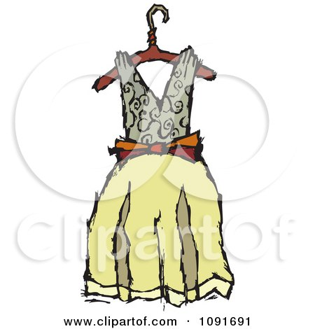 Clipart Tan And Yellow Dress On A Hanger - Royalty Free Vector Illustration by Steve Klinkel
