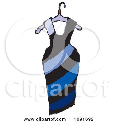 Clipart Blue Diagonal Striped Dress On A Hanger - Royalty Free Vector Illustration by Steve Klinkel