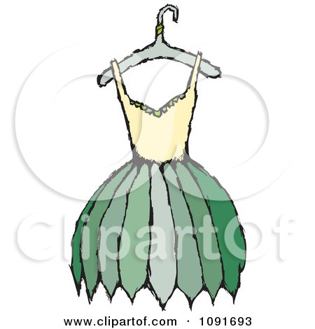 Clipart Yellow And Green Dress On A Hanger - Royalty Free Vector Illustration by Steve Klinkel