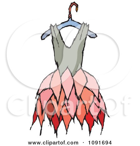 Clipart Tan And Pink Dress On A Hanger - Royalty Free Vector Illustration by Steve Klinkel