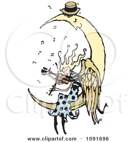 Clipart Angel Playing A Violin For A Sleeping Moon - Royalty Free Vector Illustration by Steve Klinkel