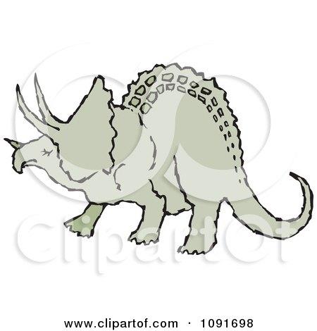 Clipart Green Triceratops Dinosaur - Royalty Free Vector Illustration by Steve Klinkel