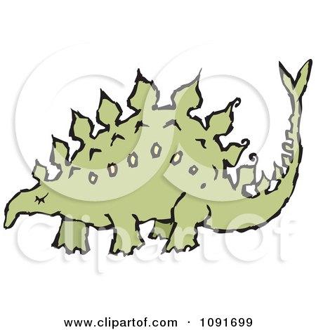 Clipart Green Stegosaur Dinosaur - Royalty Free Vector Illustration by Steve Klinkel