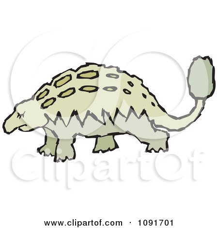 Clipart Green Ankleosaurus Dinosaur - Royalty Free Vector Illustration by Steve Klinkel