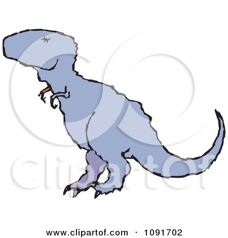 Clipart Blue T Rex Dinosaur - Royalty Free Vector Illustration by Steve Klinkel