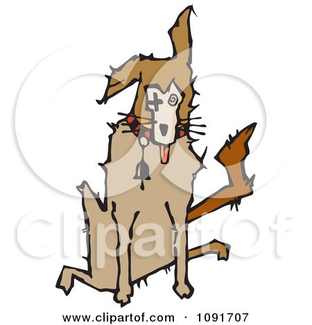 Clipart Sick Dog Sitting - Royalty Free Vector Illustration by Steve Klinkel