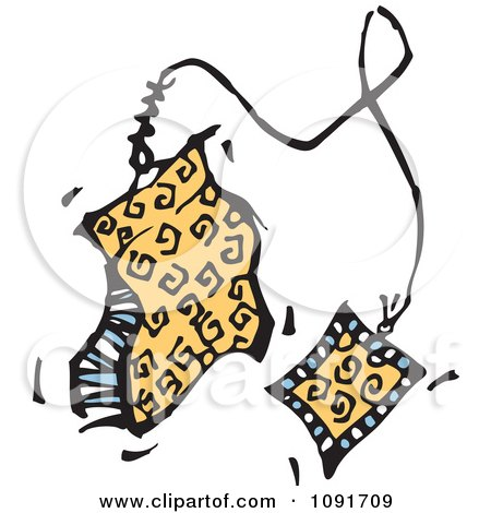 Clipart Yellow Designer Tea Bag - Royalty Free Vector Illustration by Steve Klinkel