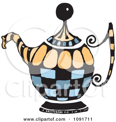Clipart Blue And Orange Tea Pot - Royalty Free Vector Illustration by Steve Klinkel
