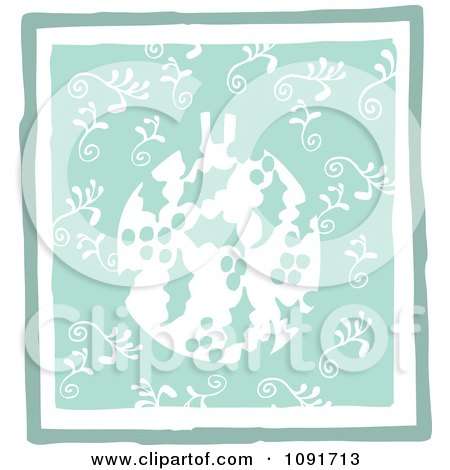 Clipart Green Holly Christmas Bauble And Swirls - Royalty Free Vector Illustration by Steve Klinkel