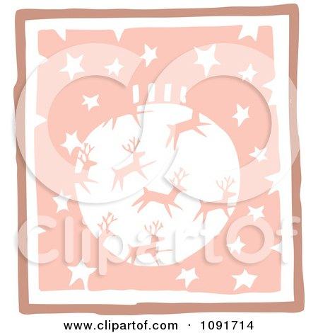 Clipart Pastel Pink Reindeer Christmas Bauble And Stars - Royalty Free Vector Illustration by Steve Klinkel