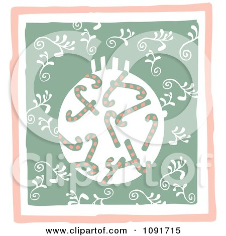 Clipart Candy Cane Christmas Bauble And Swirls - Royalty Free Vector Illustration by Steve Klinkel