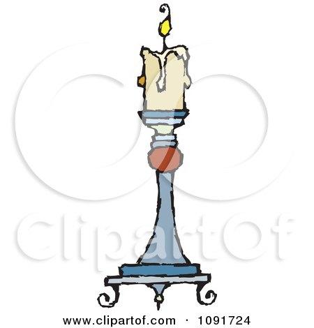 Clipart Beige Candle Burning On A Holder - Royalty Free Vector Illustration by Steve Klinkel
