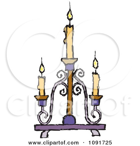 Clipart Yellow Candles Burning On A Candelabra - Royalty Free Vector Illustration by Steve Klinkel