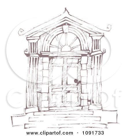 Clipart Brown Sketched Door With Steps And Columns - Royalty Free Vector Illustration by Steve Klinkel